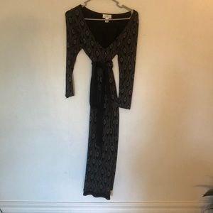 Black and cream dress with ribbon belt.